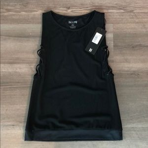 BOOM BOOM ATHLETICA Lace Up Tank Black - NEW w tag